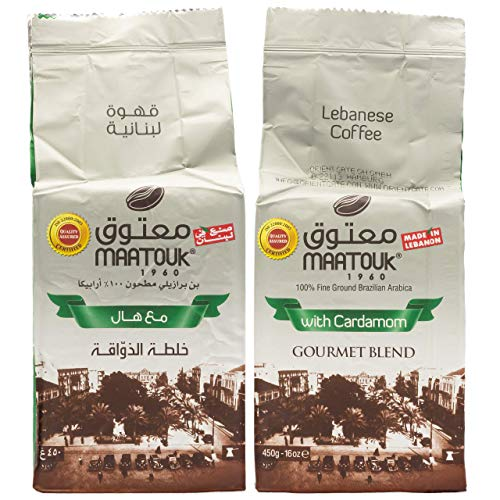 Maatouk - Arabischer Mokka Kaffee gemahlen mit Kardamom verfeinert im 2er Set à 450 g (900 g)