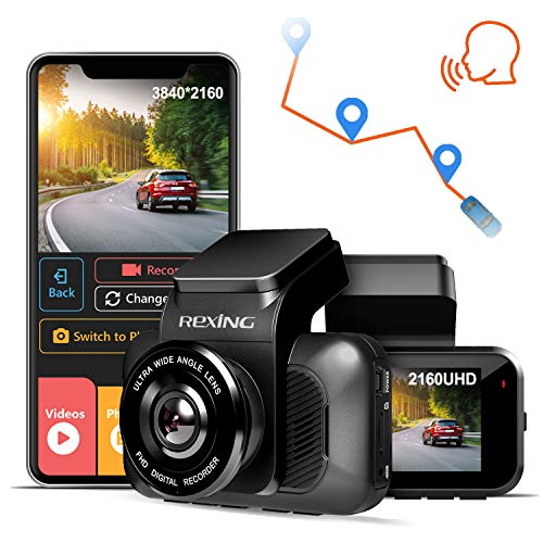 REXING V5 Dash Cam 4K Modular Capabilities 3840x2160@30fps UHD WiFi GPS Car Camera Recorder Night Vision,Loop Recording,Parking Monitor,Supercapacitor,Support 256GB Max,Voice Control (2021)