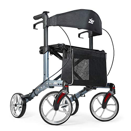 Zler Aluminum Rollator Walker with 10'' Wheels 300 lb, Premium Folding Rollator Walker with Seat for Seniors, Easy Folding for Transport and Storage, Adjustable Handle Height (Gray)