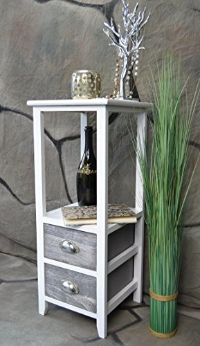 Livitat® Beistelltisch Kommode Konsole Konsolentisch 73 cm Telefontisch Landhaus Shabby Weiß Grau LV1043