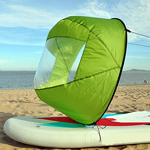 Faltbares Kajak-Segel, 106,7 cm, klares Fenster, Rudern, Bootssegel, langlebiges Wind-Paddel mit Aufbewahrungstasche für Kajak/Kanu/aufblasbare Boote, grün