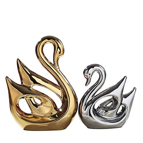 TDRFORCE Swan Lovers Figurines Porcelain Sculptures...