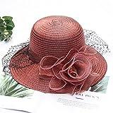 Nouveau chapeau de maille de fleur de dentelle coréenne crème solaire soleil racine chapeau de soleil femme été grande ombre pêche mari chapeau-vin red_adjustable