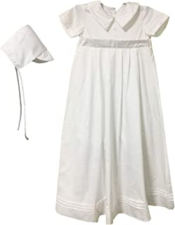 BBVESTIDO Baby Boys Baptism Outfits Girls Christening Gowns with Romper White