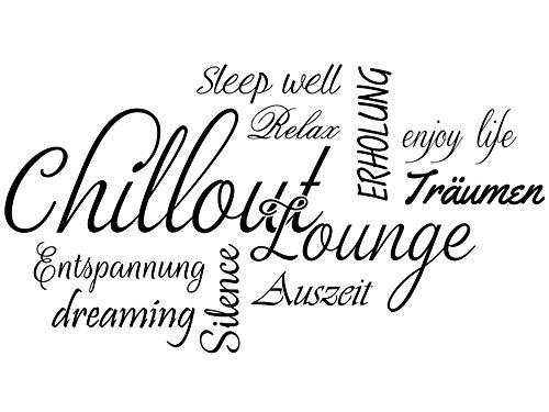 Wandtattoo-bilder® Wandtattoo Wortwolke Chillout Lounge Nr 1 Wandaufkleber Wandsticker Farbe Schwarz, Größe 120x64