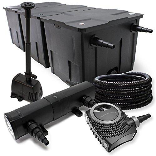 Filterset: bio vijverfilter tot 90000l, UV-zuiveraar met 36W, 80W pomp, skimmer en fonteinpomp