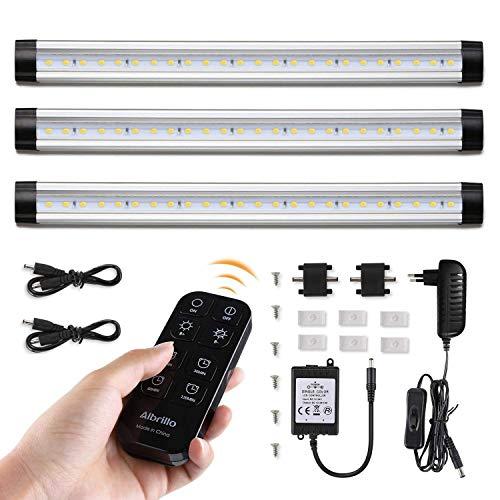 Albrillo 3er Pack 12W LED Unterbauleuchten - 900LM Dimmbar Küchenlampe mit Timer Funktion, inkl. 360° Kontrolle Fernbedienung und Montage-Zubehör, IP40 und warmweiß