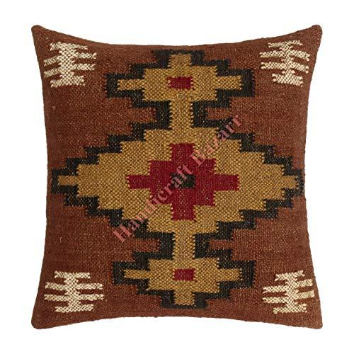 Hessian Fancy Festive Decor Kilim Pattern Wool Yute Throw Funda de cojín tejido a mano Turco Sham Floor Throw Lana Jute Cushion Cover Hippie Decoración Pilow, caso