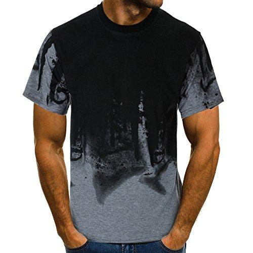 Xmiral Tops Sweatshirt Herren Slim Fit Short Sleeve/Langarm-Muskel-beiläufige Hemden(2XL,Kurze Ärmel-Grau)