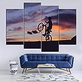 GSDFSD Painting 4 Piezas Montar en Bicicleta Cuadro De Pintura Póster De Arte Moderno Oficina Sala De Estar O Dormitorio Decoración del Hogar Arte De Pared 80x60 CM