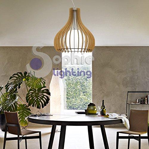 EG 51269 Sophie Lighting Lustre à suspension réglable Grand diamètre 60 cm Hauteur 2 mètres Design moderne bois érable verre blanc satiné acier chromé satiné salle à manger cuisine salon magasin showroom EG 51269