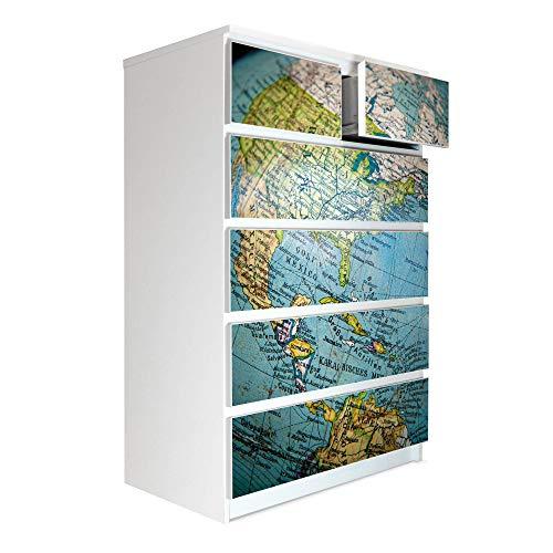 banjado Möbelaufkleber passend für IKEA Malm Kommode 6 Schubladen | Selbstklebende Möbelfolie | Sticker Tattoo perfekt für Wohnzimmer und Kinderzimmer | Klebefolie Motiv Globus
