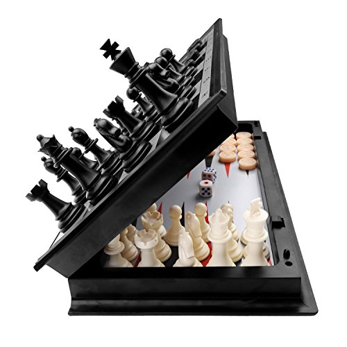 """3 in 1 Chess Checkers Backgammon Set, KAILE Magnetic Chess Travel Magnet Chess with Folding Case 13"""""""