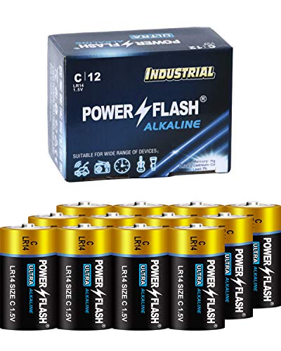 POWER FLASH C Ultra Alkaline Batteries with Fresh Date - 12 Count Industrial Pack - Ultra Long Lasting All Purpose C Battery