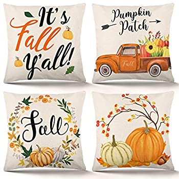 YGEOMER Fall Pillow Covers 18×18 Inch Set of 4 Autumn Pumpkin Pillow Covers Holiday Rustic Linen Pillow Case for Sofa Couch Farmhouse Thanksgiving Fall Decorations Throw Pillow Covers
