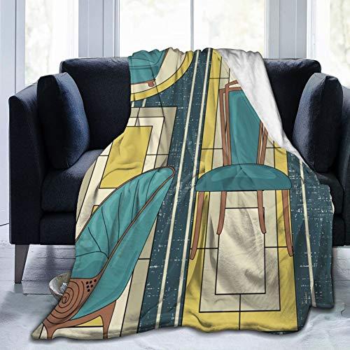 Daisylove Ultra weiche Micro-Fleece-Decke, strapazierfähig, Art-Deco-Panels und Stühle, blaugrün, weich, warme Decke für Bett, Bettwäsche, Sofa, Büro, Wohnzimmer, Heimdekoration, 152,4 x 127,7 cm