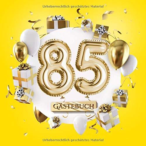 85 Gästebuch: Gelbe Deko zum 85.Geburtstag für Mann oder Frau - 85 Jahre Geschenk - Partydeko Gelb...