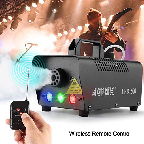 Nebelmaschine, AGPtEK Nebel Maschine mit kabelloser Fernbedienung UND aktiviertes LED Licht, 500 WATT Stabil & Tragbar, Passend für Halloween, Weihnachten, Hochzeitsfeiern & Bühnenauftritte usw - 5