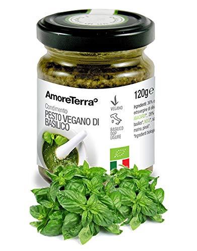 """Il pesto vegano di basilico AmoreTerra è un prodotto biologico di alta qualità realizzato con basilico, olio extravergine d'oliva, anacardi, noci, pinoli. SPEDIZIONE GRATUITA a partire da 29 euro spesi in prodotti AmoreTerra (clicca su """"AmoreTerra"""" s..."""