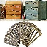 32 Piezas Portaetiquetas de Metal, Titular de Etiquetas de Metal con Tornillos, 70 x 33mm Bronce Antiguo Soporte para la Etiqueta, Estante para Cajones de Estantería Decorativa Retro de Bronce