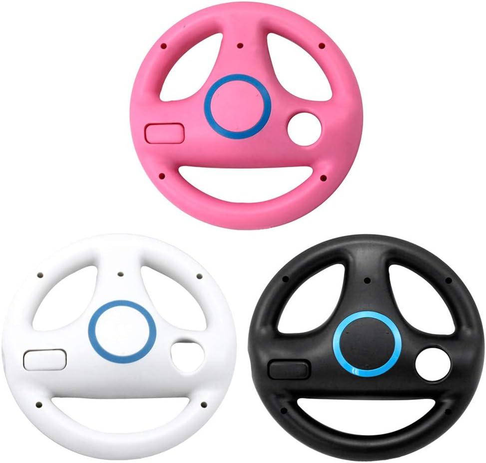 cdhgsh Volant ABS 3 Couleurs pour Wii Kart Racing Games T/él/écommande Console Volant Rose