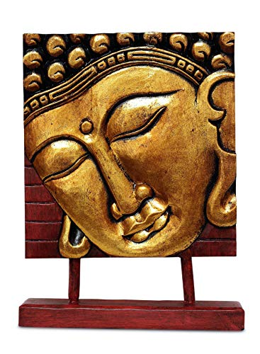 G6 Collection 15' Wooden Serene Buddha Head Plaque Statue Handmade Meditating Sculpture Figurine Decorative Home Decor Accent Handcrafted Traditional Modern Contemporary Oriental Buddha Plaque Gold