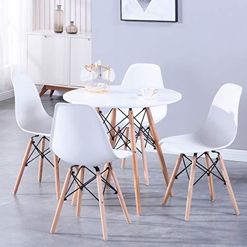 BenyLed Esstisch und 4 Stühle, 80 cm Runder Tisch aus Massivholz und 4 Esszimmerstühle, Esszimmermöbel-Set für Zuhause, Büro, Küche, Balkon und Garten, Weiß