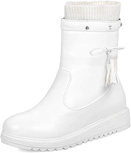 HOESCZS Bowtie Stiefel para la Nieve schuhe de Marca para damen Stiefel de damen Calzado sólido cálido Invierno Stiefel a Media Pierna schuhe de damen