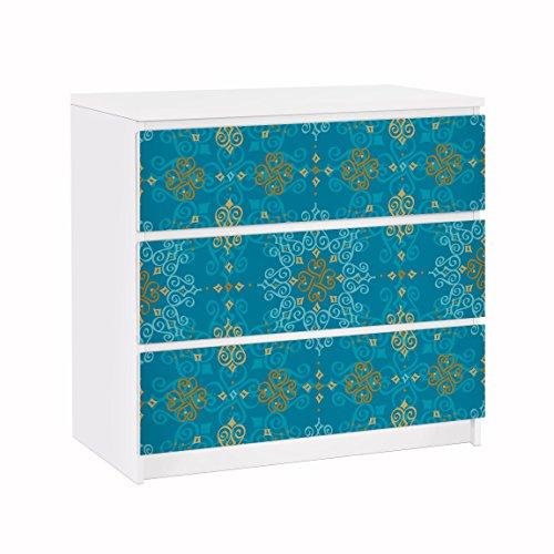Apalis Möbelfolie für IKEA Malm Kommode Orientalisches Ornament Türkis 3X 20x80cm
