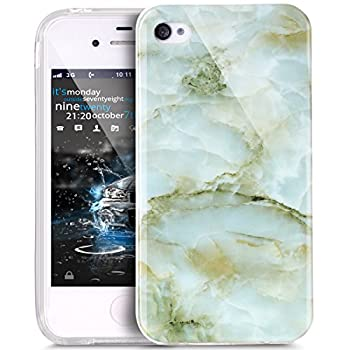 iPhone 4S Case,iPhone 4 Case,ikasus iPhone 4 / 4S case Marble,Glossy Marble Texture Ultra Slim Thin Flexible Soft Silicone TPU Bumper Rubber Protective Case Cover for iPhone 4S / 4 - Green