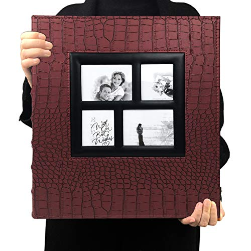RECUTMS 600 Pockets Photo Album 4x6 Sewn Bonded Black Pages Large Adventure Book Travel Record Birthday Gift for Couples (Red, 600 Pocket)