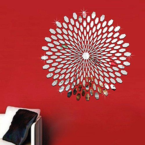 3D Wandaufkleber Sticker Wanddeko Spiegel Effekt Aufkleber Wandsticker Wandtattoo Wanddeko TV Hintergrund Deko für Wohnzimmer Kinderzimmer Türen Fenster Badezimmer Kühlschrank (Silber)