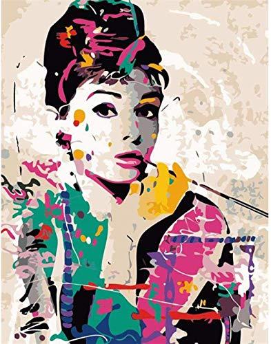 Rompecabezas 1000 piezas de rompecabezas de madera Pintar por números Audrey Hepburn Figura elegante Arte moderno DIY Regalo moderno único Decoración para el hogar Arte