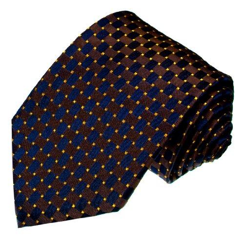 Lorenzo Cana - Marken Krawatte aus 100% Seide - Schlips Blau Gold Karos Punkte gepunktet - 12029