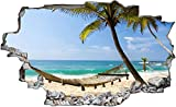 3D Pegatinas de Pared Sala de Estar Calcomanía Dibujos Niños Adolescentes Niños Habitación Hamaca de mar playa de vacaciones extraíble Autoadhesivo Pegatinas de Pared Papel Tapiz Póster 80x120cm