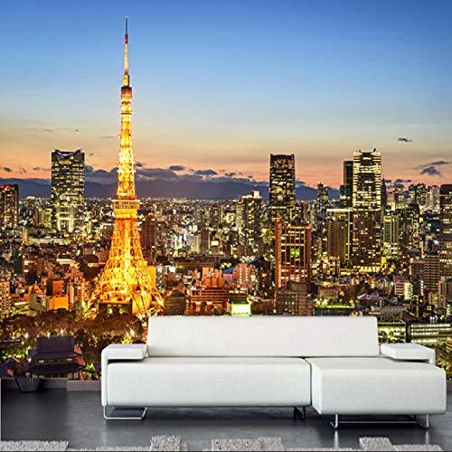 Afashiony 3D Wandbild Tapete Für Wohnzimmer Moderne Stadt Tokyo Turm Nacht Landschaft Tapete Schlafzimmer Sofa Tv Hintergrund Poster Wandkunst Fototapete-250Cmx175Cm
