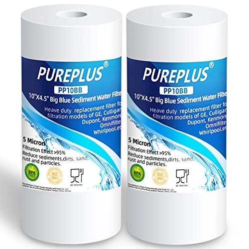"""5 Micron 10"""" x 4.5"""" Whole House Big Blue Sediment Water Filter Replacement Cartridge Compatible with Culligan RFC-BBSA, W15-PR, HD-950, WFHD13001B, GXWH35F, GXWH30C, 3M Aqua-Pure AP817, 2-Pack"""