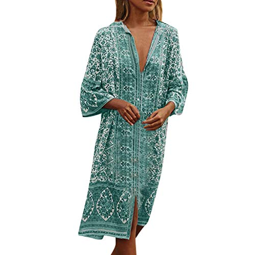 Kleid Damen Kolylong Frauen Vintage V-Ausschnitt Drucken Kleid Lang Retro Langarm Kleider Boho Strandkleid Loose Maxikleid Sommer Cocktails Party Abendkleid