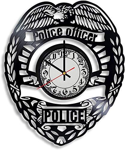 Accesorios de Dormitorio NIGU Reloj de Pared de Vinilo de graduación de la Academia de policía, Regalos para Mujeres, Regalos de policía de Hawkins para Hombres, Reloj de Pared