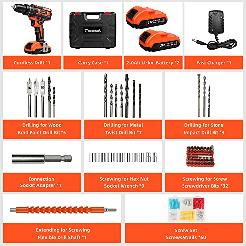 Faxamol Cordless Drill Driver 21V, Combi Drill 120PCS with 2 Batteries 2000mAh, 42Nm Max Electric Drill, 25+3 Torque Hammer Drill, 3/8' Chuck, 2 Speed, LED Light for Home and DIY Project