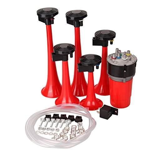Iglobalbuy 125db Red Musical La Cucaracha 5 trumpet Horn Air Horn Kit + Compressor + Hose For Car Boat Truck Van