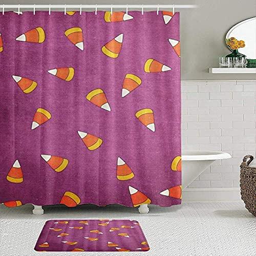 PUNKDBOTTO Badezimmer-Dekor, Süßigkeiten-Mais-Muster, Polyester, wasserdichter Duschvorhang für Badezimmer, Einweihungsgeschenk,