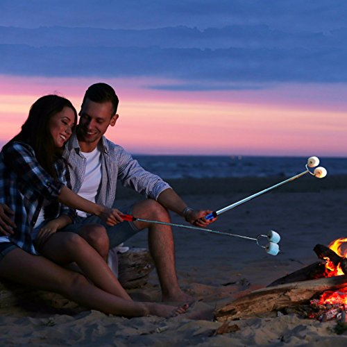 SUMPRI Marshmallow Roasting Sticks, Smores Skewers Telescoping Rotating Forks Set of 6 Hot Dog Fire Pit Outdoor Fireplace Campfire Accessories-6 Multicolored 34 Inch Extendable Steel Fork Camping Kit