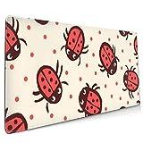 Gaming Mauspad XXL (900 x 400 x 3 mm) Schreibtischunterlage extended mousepad Office Tischunterlage groß mit gel Rubber (Ladybugs)