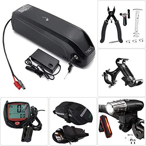 Batería para bicicleta Batería con USB Batería eléctrica para bicicleta Batería con cargador, faro de carga USB y juego de luces traseras, herramienta de extracción, bolsa de alforja,36V10Ah