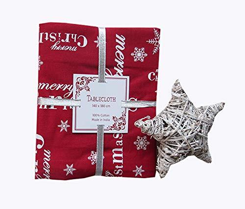 M&O TOVAGLIA Natale 12 Persone Misura 140X240 100% Cotone Merry Christmas Rossa