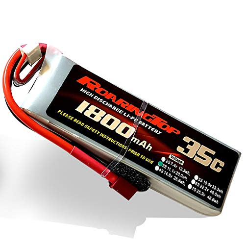 RoaringTop LiPo Battery Pack 35C 1800mAh 3S 11.1V with Deans Plug Soft Case for Skylark M4-FPV Mini Shredder INDY250 Plus MOJO QAV250 Emax Nighthawk 250 RC Heli Airplane UAV Drone FPV (1 Pack)