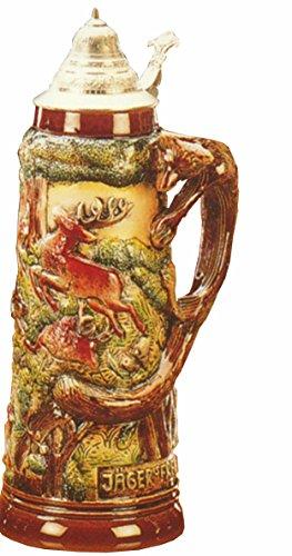 KING Jarra de Cerveza Alemana con asa de Zorro, Caza, Jarra 1,5 litros