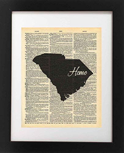 South Carolina State Vintage Map Vintage Dictionary Print 8x10 inch Home Vintage Art Abstract Prints Wall Art for Home Decor Wall Decorations For Living Room Bedroom Office Ready-to-Frame Home