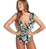 Trajes de Baño Mujer Bañador Vientre Plano Escote V Una Pieza Bañadores Playa Natacion Mujer con Volantes Bikinis de Flores con Relleno Monokini Bikini Triangulo Push Up Señora Enteros Biquini L